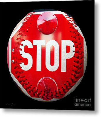 School Bus Stop Sign Baseball Square Metal Print by Andee Design