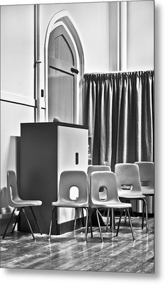 School Chairs Metal Print by Tom Gowanlock