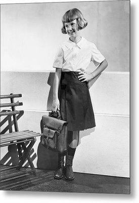 School Fashion Girl Metal Print