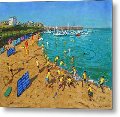 School Outing New Quay Wales Metal Print by Andrew Macara