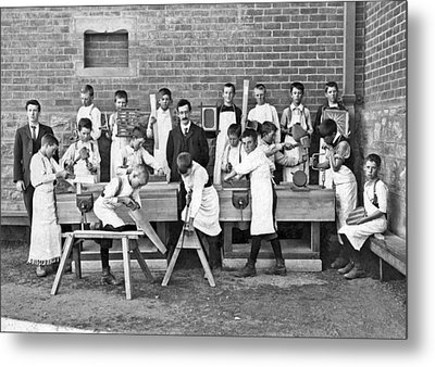 School Woodworking Class Metal Print by Underwood Archives