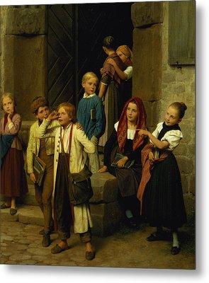 Schoolchildren Watching A Boy Cry Metal Print by Friedrich Edouard Meyerheim