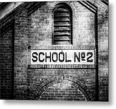 Schoolhouse No. 2 In Black And White Metal Print by Lisa Russo