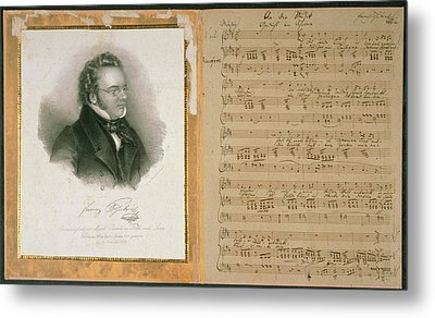 Schubert Song And Portrait Metal Print by British Library
