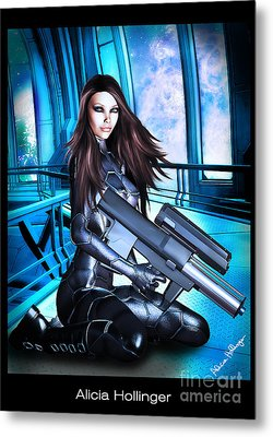 Sci-fi Brunette With A Big Gun Metal Print
