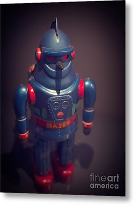 Science Fiction Vintage Robot Toy Metal Print by Edward Fielding