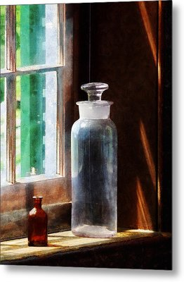 Science - Reagent Bottle And Small Brown Bottle Metal Print by Susan Savad