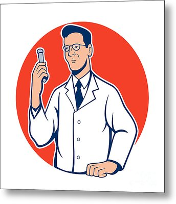 Scientist Lab Researcher Chemist Cartoon Metal Print by Aloysius Patrimonio