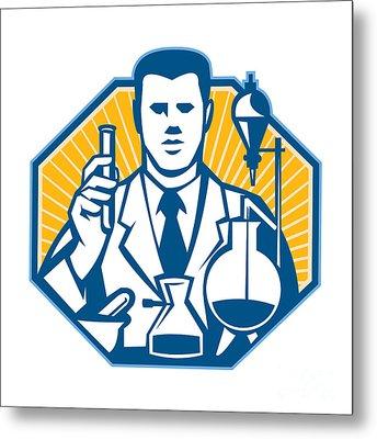 Scientist Lab Researcher Chemist Retro Metal Print by Aloysius Patrimonio