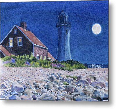 Scituate Light By Night Metal Print by Karol Wyckoff