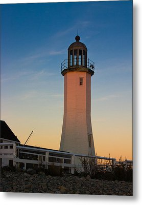 Scituate Lighthouse In Oct Metal Print by Jeff Folger