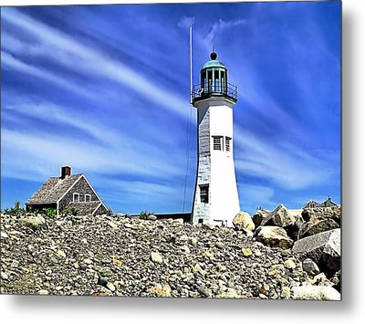 Scituate Lighthouse Metal Print by Janice Drew
