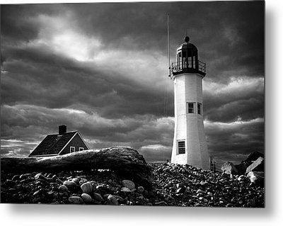 Scituate Lighthouse Under A Stormy Sky Metal Print by Jeff Folger