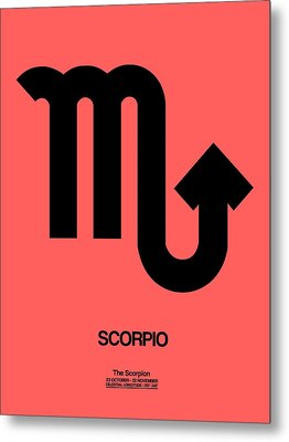 Scorpio Zodiac Sign Black Metal Print by Naxart Studio