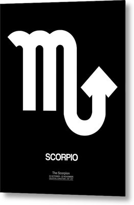 Scorpio Zodiac Sign White Metal Print by Naxart Studio