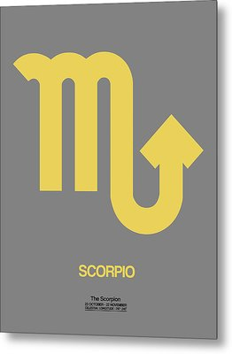 Scorpio Zodiac Sign Yellow On Grey Metal Print by Naxart Studio