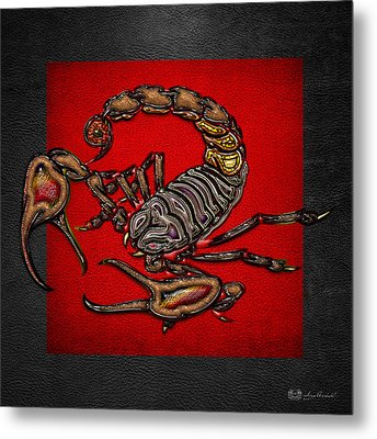Scorpion On Red And Black Leather Metal Print by Serge Averbukh