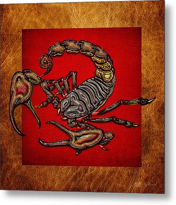 Scorpion On Red And Brown Leather Metal Print by Serge Averbukh