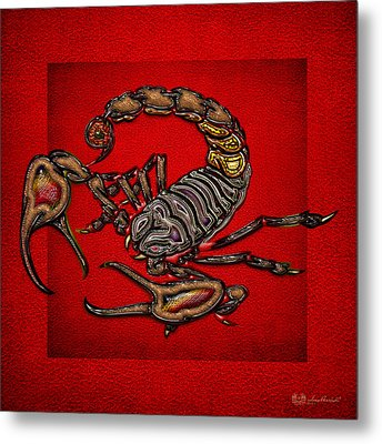 Scorpion On Red Metal Print by Serge Averbukh