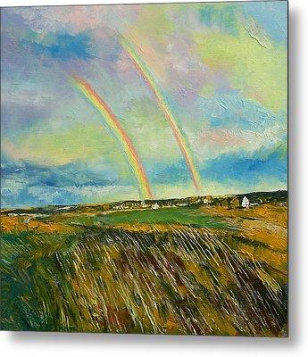 Scotland Double Rainbow Metal Print by Michael Creese