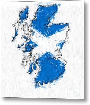 Scotland Painted Flag Map Metal Print
