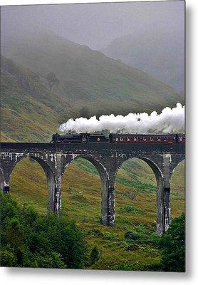 Scotland Steam Train And Bridge Metal Print