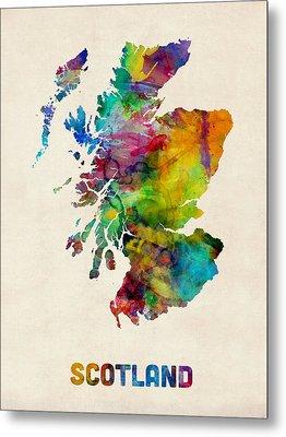 Scotland Watercolor Map Metal Print