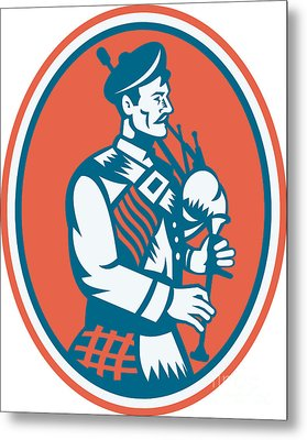 Scotsman Scottish Bagpipes Retro Metal Print by Aloysius Patrimonio