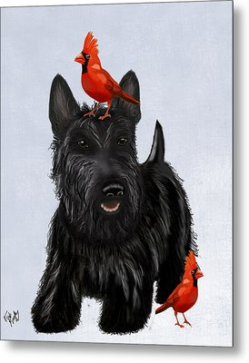 Scottie Dog And Red Birds Metal Print by Kelly McLaughlan