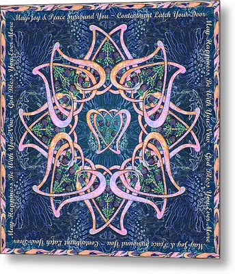 Scottish Blessing Celtic Hearts Duvet Metal Print