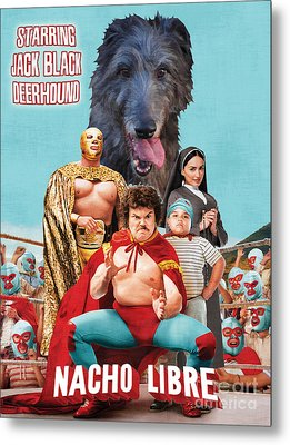 Scottish Deerhound Art - Nacho Libre Movie Poster Metal Print by Sandra Sij