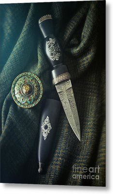Scottish Dirk And Celtic Pin Brooch On Plaid Metal Print
