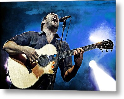 Dave Matthews Screaming On Guitar In Blue Metal Print by Jennifer Rondinelli Reilly - Fine Art Photography