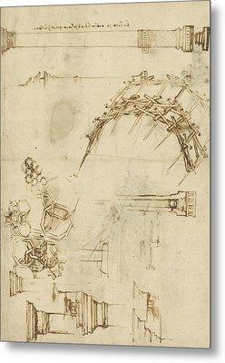 Screw Breech Bombard Decorative Geometrical Drawings Framework Of Self Supporting Military Bridge  Metal Print by Leonardo Da Vinci