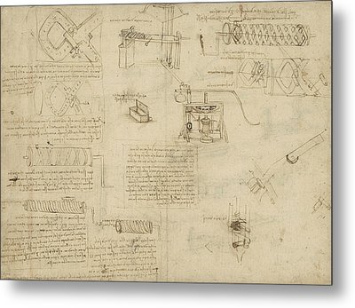 Screws And Lathe Assembling Press For Olives For Oil Production And Components Of Plumbing Machine  Metal Print by Leonardo Da Vinci