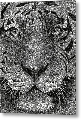 Scribble Tiger Metal Print