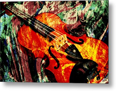 Metal Print featuring the mixed media Scribbled Fiddle by Ally  White