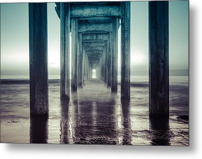 Metal Print featuring the photograph Scripps Pier by Sonny Marcyan