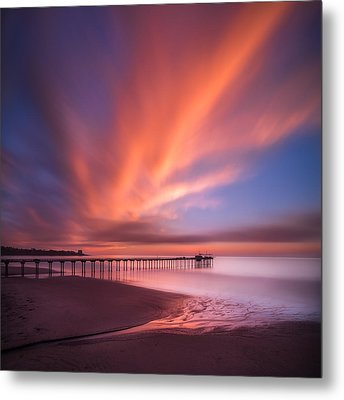 Scripps Pier Sunset - Square Metal Print by Larry Marshall