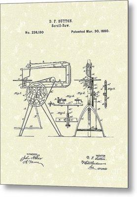 Scroll-saw 1880 Patent Art Metal Print by Prior Art Design