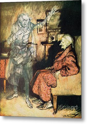 Scrooge And The Ghost Of Marley Metal Print by Arthur Rackham
