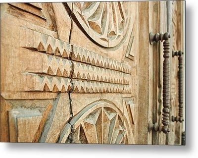 Sculpted Wooden Door Metal Print