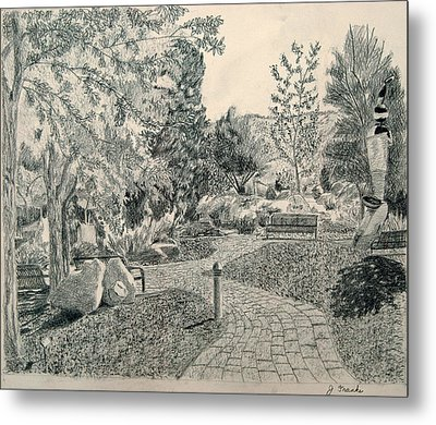 Sculpture Garden In The Fall Metal Print by Joanna Franke