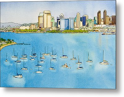 Sd Skyline Pen And Ink Metal Print by Mary Helmreich