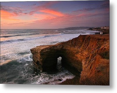 Sea Arch Winter Sunset Metal Print