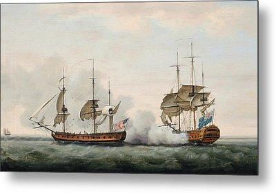 Sea Battle Metal Print by Francis Holman