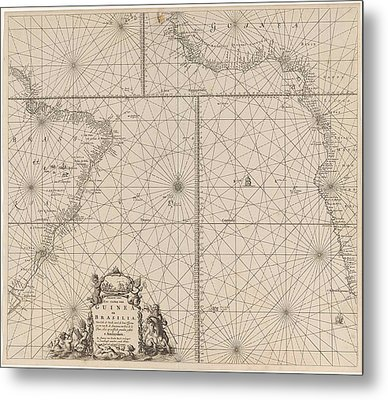 Sea Chart Of The Southern Part Of The Atlantic Coasts Metal Print