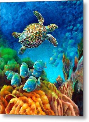 Sea Escape IIi - Hawksbill Gemstone Turtle Metal Print by Nancy Tilles