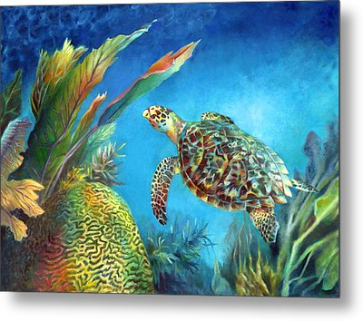 Sea Escape Iv - Hawksbill Turtle Flying Free Metal Print by Nancy Tilles