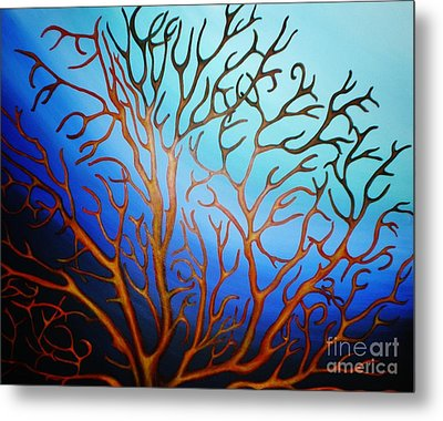 Metal Print featuring the painting Sea Fan In Backlight by Paula L